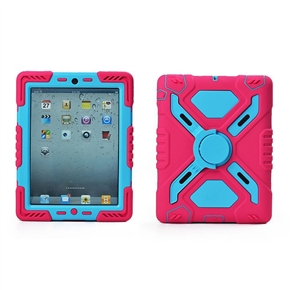 Dustproof Shockproof Plastic Silicone Protective Back Case Cover with Kickstand and Sticker for iPad mini 2, mini 1 (Rosy,Blue)