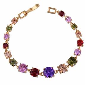 Fashion Women Round Zircon Deored Gold Plated Bracelet Cuff Bangle