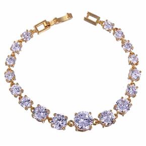 Fashion Women Round Zircon Deored Gold Plated Bracelet Cuff Bangle (White)