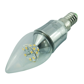 YouOKLight E14 5W AC 85-265V 500LM 25 SMD 2835 3000K Silver Tapering LED Candle Bulb Lamp (Warm White)