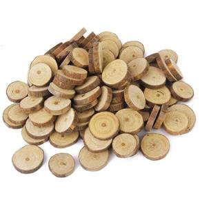 100pcs 1.5-3CM Wood Log Slices Discs for DIY Crafts Wedding Centerpieces