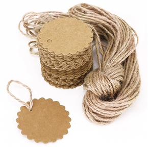 100pcs 60mm Round Scalloped Kraft Paper Card / Gift Tag / DIY Tag / Luggage Tag / Price Label with 10M Jute Twine (Brown)
