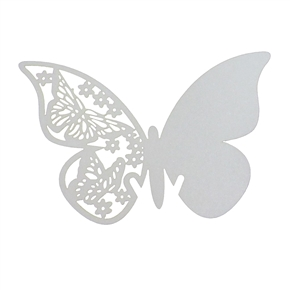 100pcs Butterfly Style Wedding Table Paper Place Card Escort Name Card Wine Glass Card for Wedding and Party (White)