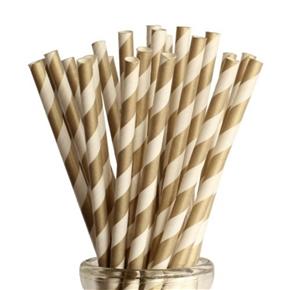 100pcs Striped Paper Straws Drinking Straws (Golden)