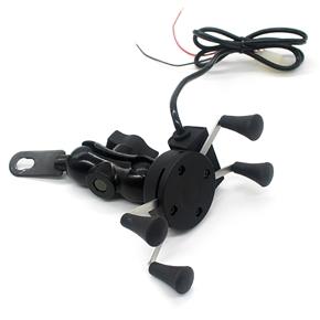12V Motorcycle Motorbike Swivel Mount Charging Stand Holder for Cellphone (Black)
