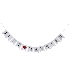 12pcs JUST MARRIED Card Paper Bunting Banner Wedding Party Favors (White)