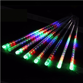 20 Inches 8 Tubes Meteor Shower Rain Lights Waterproof Xmas Decoration Falling String Lights for Wedding Party Christmas with EU Plug (Colorful Light)