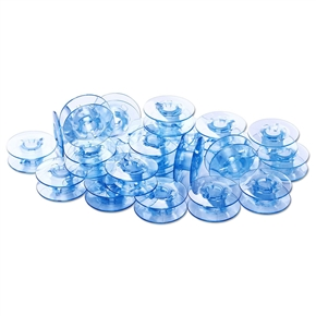 25pcs Plastic Empty Sewing Machine Bobbins Spools with Storage Case for Feiyue Butterfly (Blue)