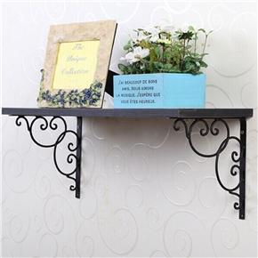 2pcs Wall Mounted Floral Style Shelf Brackets for Bookrack / Calpboard / Set Top Box (Black)