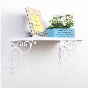 2pcs Wall Mounted Floral Style Shelf Brackets for Bookrack / Calpboard / Set Top Box (White)