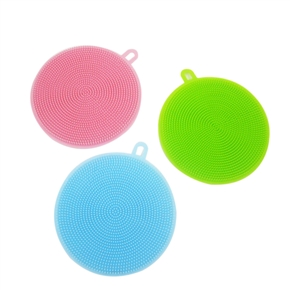 3PCS Silicone Scrubber Dish Wash Cloth Dirt Cleaning for Kitchen Bathroom (Blue & Green & Pink)