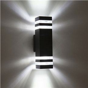 5W Wall Pack Light Rectangle Shaped LED Wall Lamp White Light with Double-Head (Black)