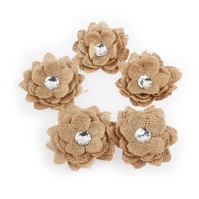 5pcs Crystal Hessian Burlap Rose Flowers for Christmas Wedding Decoration (Brown)