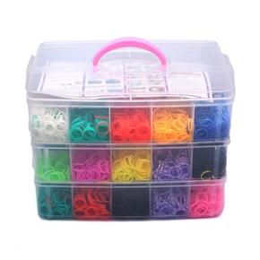 7500pcs Colorful Rubber Loom Bands Box Set DIY Bracelet Kit