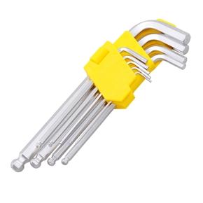 9pcs Extra Extended Folding Key Set Hex Ball L Wrench Tool Pocket Screwdriver Kit