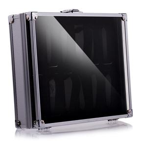 Aluminum 12 Slots Wrist Watch Display Box Lockable Showcase Jewelry Storage Case Organizer (Silver)
