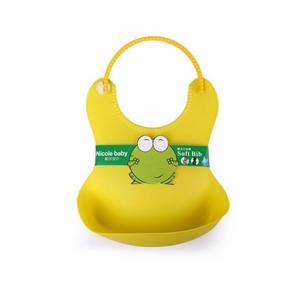 Baby Infant Waterproof Adjustable Silicone Feeding Bib (Yellow)