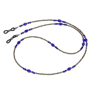 Bohemia Style Decorative Beaded Sunglasses Eyeglasses Spectacles Chain Holder (Blue)