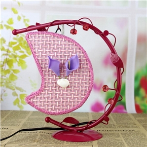 Creative Wrought Iron Desk Lamp Hanging Moon Light with US Plug (Pink)