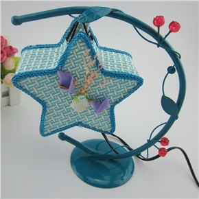 Creative Wrought Iron Desk Lamp Hanging Star Light with US Plug (Blue)