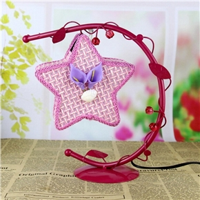 Creative Wrought Iron Desk Lamp Hanging Star Light with US Plug (Pink)