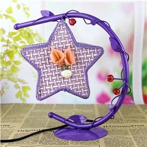 Creative Wrought Iron Desk Lamp Hanging Star Light with US Plug (Purple)