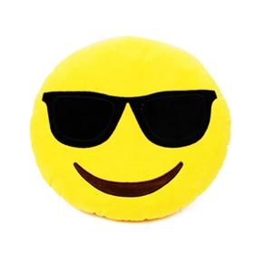 Cute Emotion Style Soft Round Plush Throw Pillow Bolster Cushion (Sunglasses Pattern)