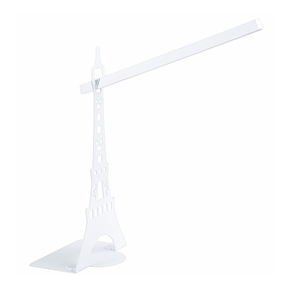 Dimmable Touch-Sensitive Controller Flexible Neck  Eiffel Tower LED Table Lamp Eye-Protection USB Reading Night Light (White)