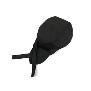 Fashion Chefs Hat Cap Kitchen Catering Skull Cap Ribbon Cap Turban (Black)