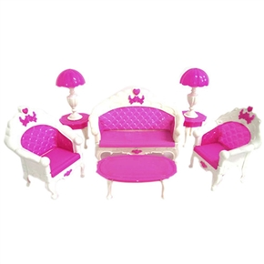 Fashion Lovely Toy Barbie Doll Sofa Chair Desk Lamp Furniture Set (Pink)