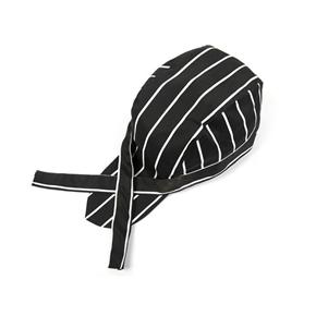 Fashion Striped Chefs Hat Cap Kitchen Catering Skull Cap Ribbon Cap Turban (Black+White)