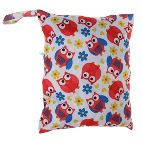 Infant Diaper Bag Waterproof Nappy Bag Resuable Wet Dry Baby Diaper Pouch with Dual Zipper Rainbow (Red Birds)
