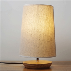 LED Desk Lamp With Linen Shade and Solid Wood for Bedroom Baby Room Coffee Table (US Plug)