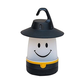 LED Lantern Smile Face Light Portable Moving Table Lamp for Party & Indoor Outdoor (Black)