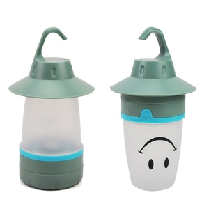 LED Lantern Smile Face Light Portable Moving Table Lamp for Party & Indoor Outdoor (Green)
