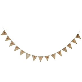 MERRY CHRISTMAS Burlap Bunting Banner Flags Party Hanging Decoration (Brown)