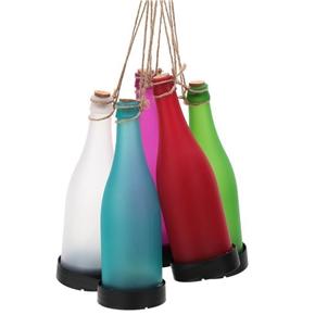 Pack of 5 Solar Powered LED Bottle Lamp Hanging Glass Wine Bottle Landscape Lights for Garden Yard Lawn Party Decor (White & Red & Pink & Blue & Green)