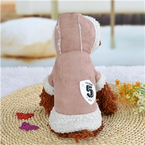 Pet Clothes Winter Warm Coat Dog Pajamas Clothing Small Puppy Hoodie Coat Cotton-padded Jacket Custome Apparel - Size L (Brown Khaki)