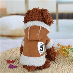 Pet Clothes Winter Warm Coat Dog Pajamas Clothing Small Puppy Hoodie Coat Cotton-padded Jacket Custome Apparel - Size L (Coffee)