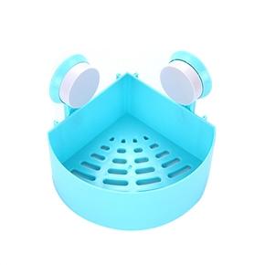 Plastic Suction Cup Bathroom Kitchen Corner Storage Rack Organizer Shower Shelf (Blue)
