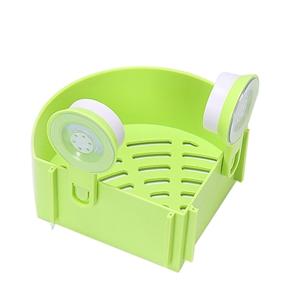 Plastic Suction Cup Bathroom Kitchen Corner Storage Rack Organizer Shower Shelf (Green)