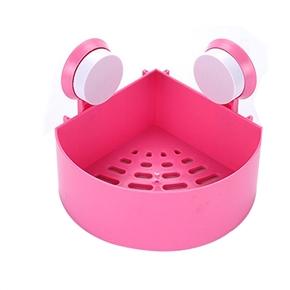Plastic Suction Cup Bathroom Kitchen Corner Storage Rack Organizer Shower Shelf (Pink)
