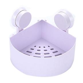 Plastic Suction Cup Bathroom Kitchen Corner Storage Rack Organizer Shower Shelf (White)