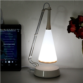 USB Charging LED Touch Controlled Table Lamp Speaker Light Adjusted Audio Desk Lamp (White)