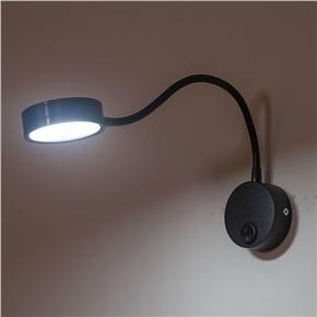 Wiring Flexible 3W Gooseneck Led Wall Light Lamp Lighting for Bedroom Reading Bathroom with White Light (Black)