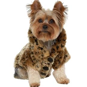 Fashion Luxury Leopard Flush Warm Keeping Dog Jacket Clothes - Size XS