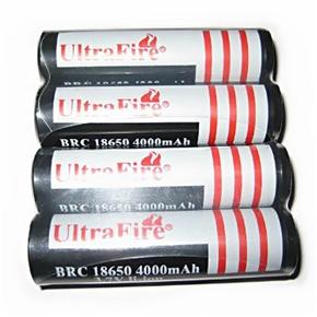 4pcs UltraFire 18650 3.7V 4000mAh IC Protected Rechargeable Li-ion Batteries (Black)