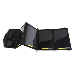 14W Portable Waterproof Outdoor Travel Folding Dual Output Solar Panel Battery Charger Bag for iPad /iPhone /Laptop /GPS /PDA /DV (Black)