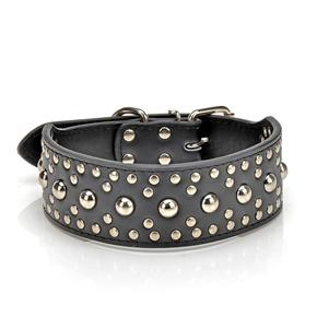 Adjustable Rivet Studded PU Dog Collar - Size S (Black)