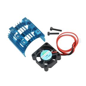 Durable Aluminum Alloy Heatsink Heat Sink with 5V Cooling Fan for 1/10 Car 540 550 3650 Size Motor (Blue)